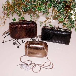 evening purses small brown, black bronze